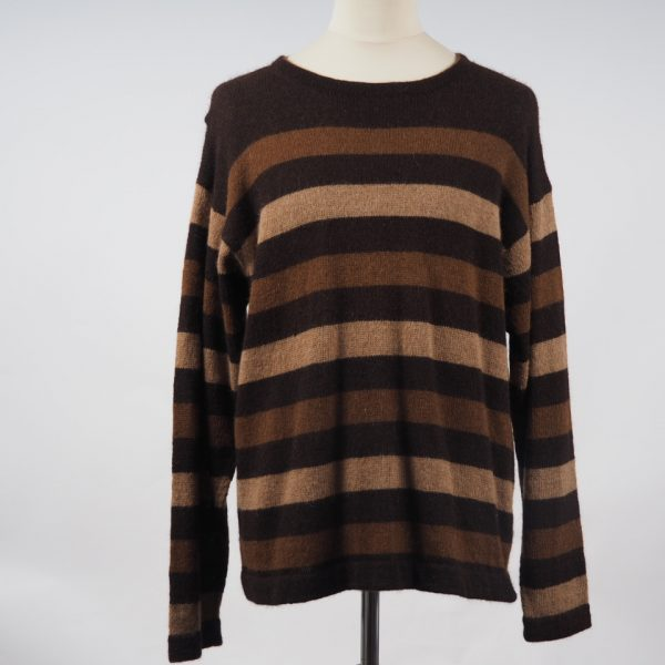 76f0e513169 Alpaca jumper round neck multi brown strips hand knitted