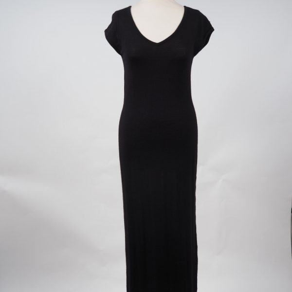 Alpaca Black Short Sleeved Calf Length Dress Alpaca Barn Alpaca